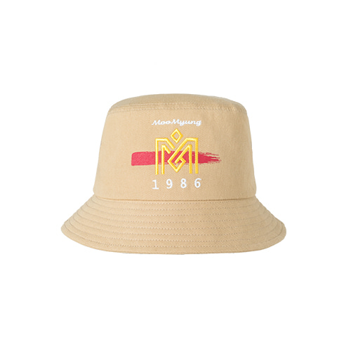 M.O.M.G BRUSH LOGO BUCKET HAT / BEIGE