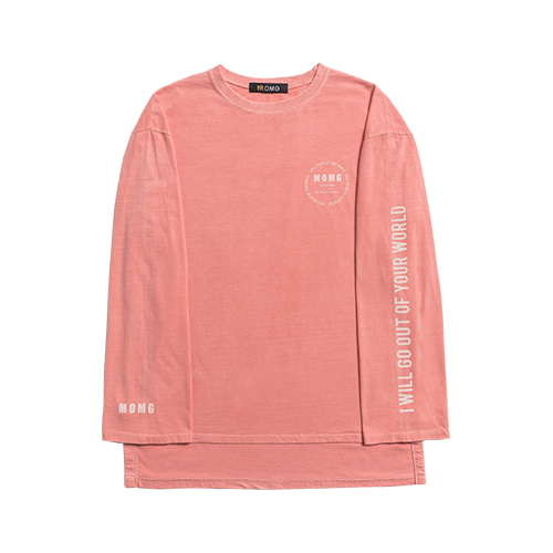M.O.M.G VINTAGE PIGMENT LONG SLEEVE T / PEACH