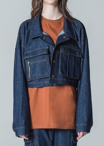 M.O.M.G OVER CROP SHORT JACKET / NAVY BLUE DENIM