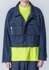 M.O.M.G OVER CROP JACKET / NAVY BLUE DENIM